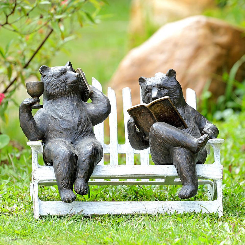 Hipster Bears on Bench Garden-Iron Home Concepts