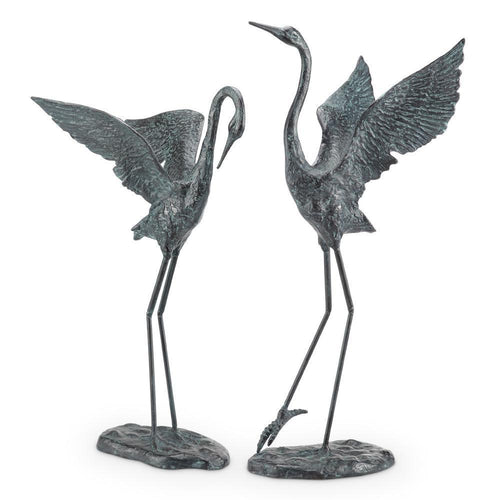 Iron Exalted Crane Pair Garden Statues-Iron Home Concepts