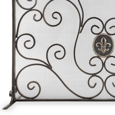 Iron Fleur de Lis and Mesh Fireplace Screen-Iron Home Concepts