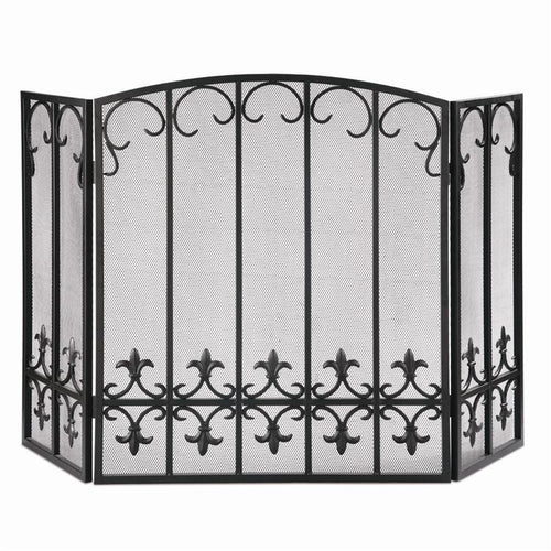 Iron Fleur de Lis Fireplace Screen-Iron Home Concepts
