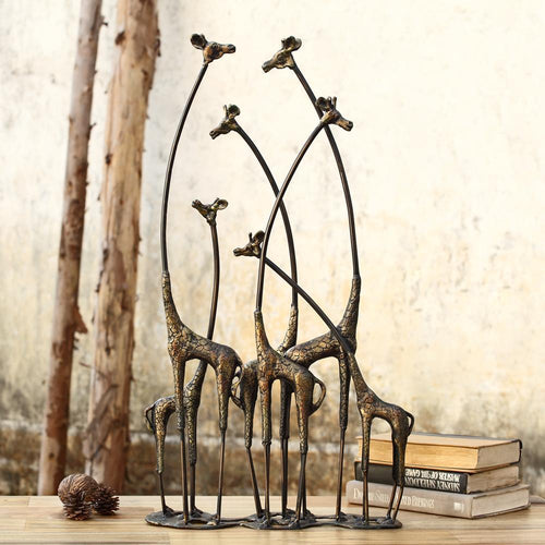 Iron Towering Giraffe Herd Tabletop Decor-Iron Home Concepts
