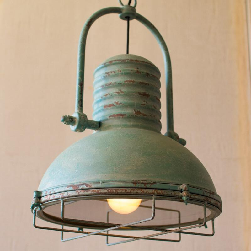 Kalalou Antique Turquoise Pendant Light With Glass and Wire Cage-Iron Home Concepts