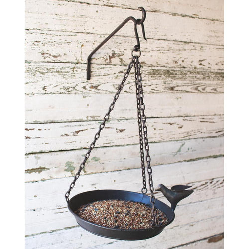 Kalalou Forged Iron Bird Feeder With Wall Hook-Iron Home Concepts