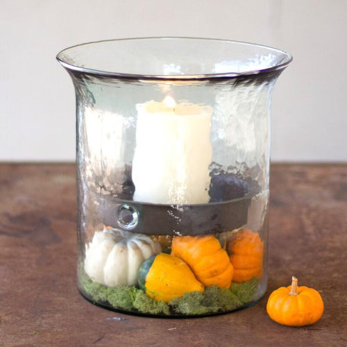 Kalalou Giant Glass Candle Cylinder With Rustic Metal Insert-Iron Home Concepts