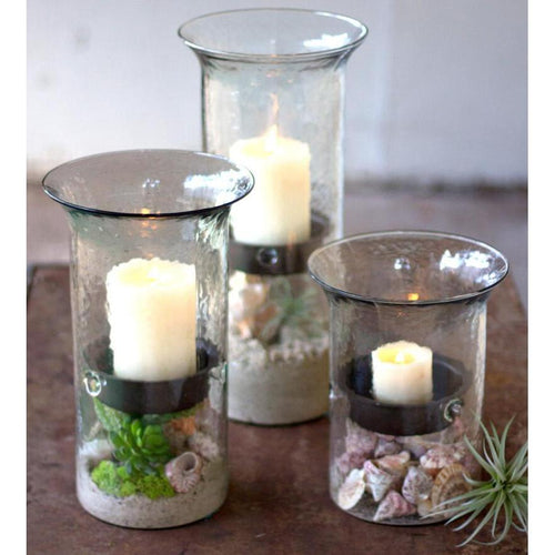 Kalalou Glass Candle Cylinder With Rustic Inserts-Iron Home Concepts