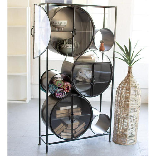 Kalalou Iron & Glass Circles Shelving Unit-Iron Home Concepts