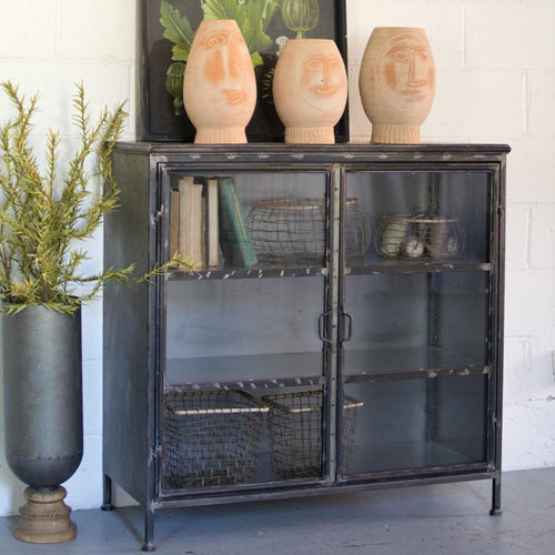 Kalalou Iron & Glass Short Apothecary Cabinet-Iron Home Concepts