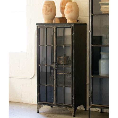 Kalalou Iron & Glass Two Door Apothecary Cabinet-Iron Home Concepts