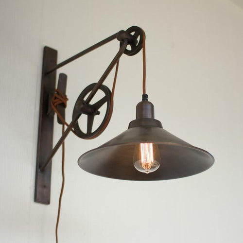 Kalalou Metal Double Pulley Wall Sconce-Iron Home Concepts