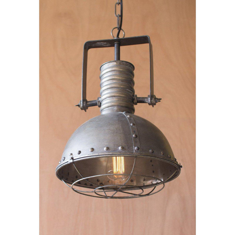 Kalalou Metal industrial Cage Pendant Light-Iron Home Concepts