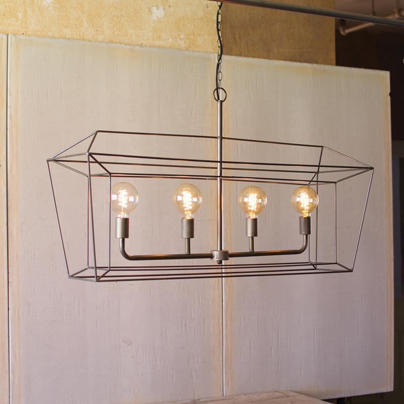 Kalalou Rectangle Iron Bar Pendant Light-Iron Home Concepts