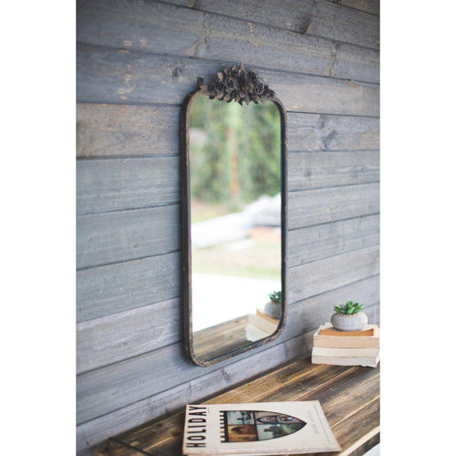 Kalalou Rectangle Metal Mirror With Flower Design-Iron Home Concepts