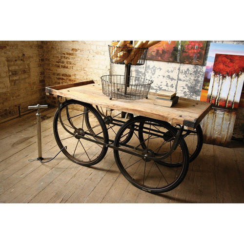 Kalalou Recycled Wood & Iron Rolling Vendor Cart With Bicycle Tire Pump-Iron Home Concepts