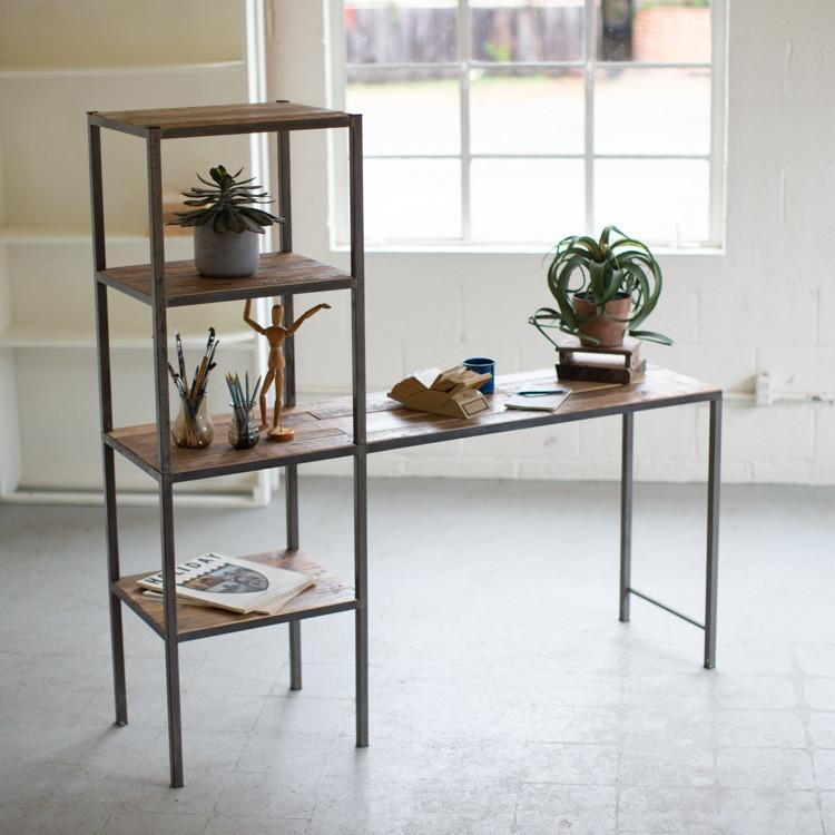 Kalalou Recycled Wood & Metal Work Station Shelf-Iron Home Concepts