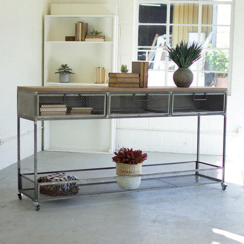 Kalalou Rolling Metal Console With Wire Mesh Drawers & Wood Top-Iron Home Concepts
