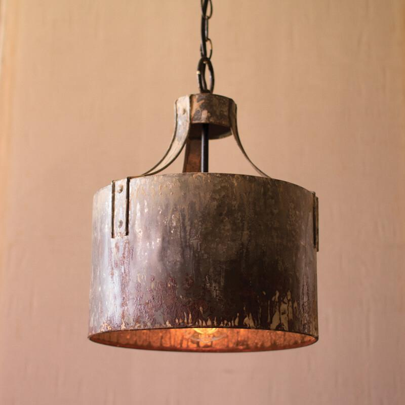 Kalalou Rustic Metal Cylinder Pendant Light-Iron Home Concepts