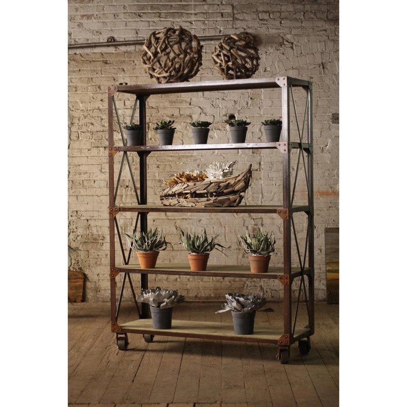 Kalalou Rustic Tall Iron & Wood Display With Five Shelves On Iron Caster-Iron Home Concepts