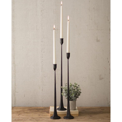 Kalalou Tall Cast Iron Taper Candle Holders -Set Of Three-Iron Home Concepts