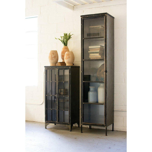 Kalalou Tall Iron & Glass Door Apothecary Cabinet-Iron Home Concepts