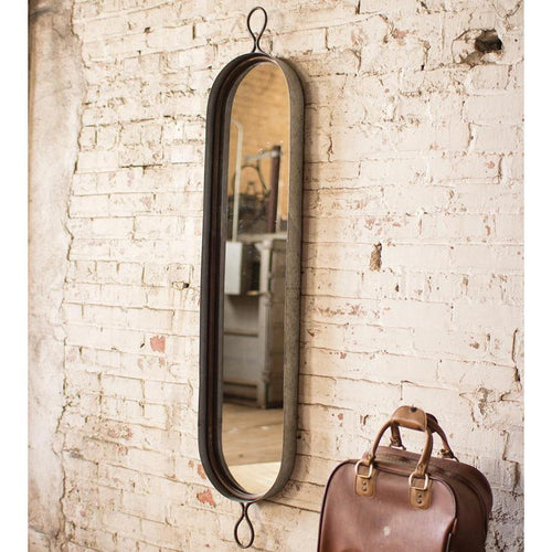 Kalalou Tall Oval Rustic Wall Mirror-Iron Home Concepts