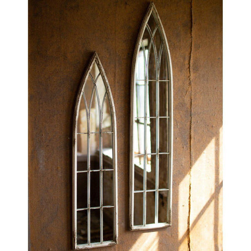 Kalalou Tall Wood & Metal Church Style Mirror -Set of Two-Iron Home Concepts