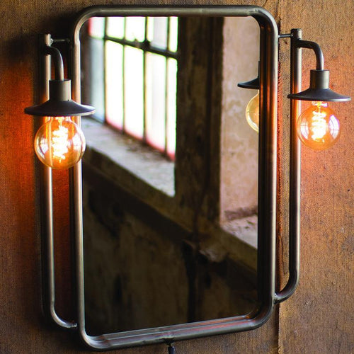 Kalalou Wall Mirror With Two Side Lights-Iron Home Concepts