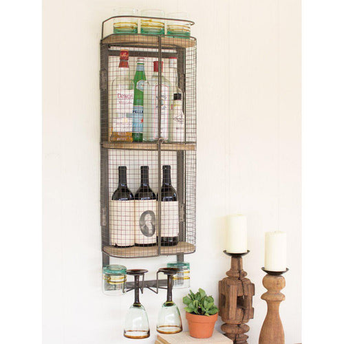 Kalalou Wall Mounted Metal Bar Wine Storage Cabinet-Iron Home Concepts