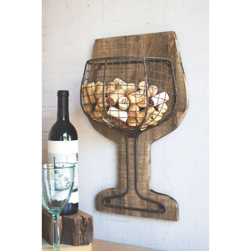 Kalalou Wood & Wire Wall Wine Glass Cork Holder-Iron Home Concepts