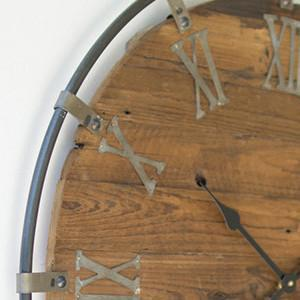 Kalalou Wooden Wall Clock With Metal Frame Work-Iron Home Concepts