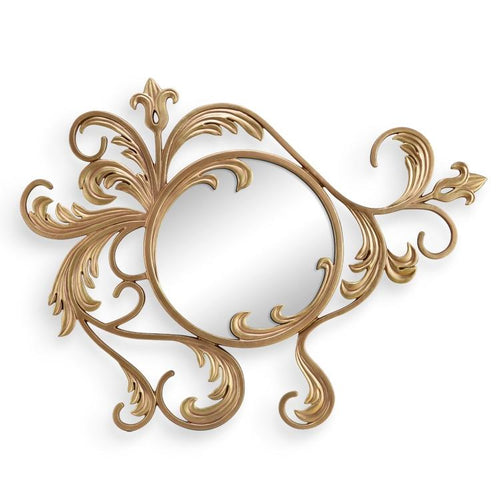 Leaf and Blossom Wall Mirror-Iron Home Concepts