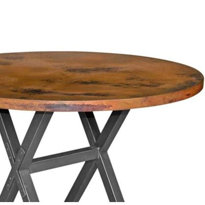 "Mathews & Company X Brace Iron 60"" Round Dining Table-Iron Home Concepts"