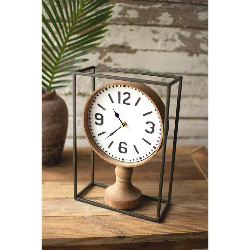 Metal Framed Tabletop Wooden Clock-Iron Home Concepts