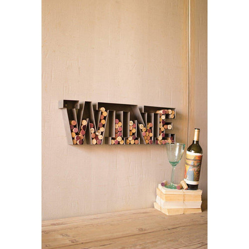 Metal Wine Lettering Wall Hanging Cork Holder-Iron Home Concepts