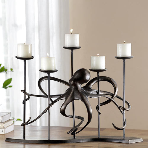 Octopus 5 Cup Candelabra-Iron Home Concepts