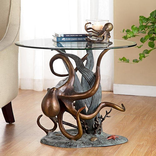 Octopus and Seagrass End Table-Iron Home Concepts