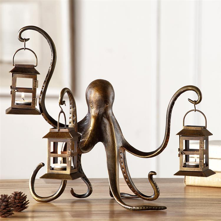 Octopus Arm Candle Lantern-Iron Home Concepts