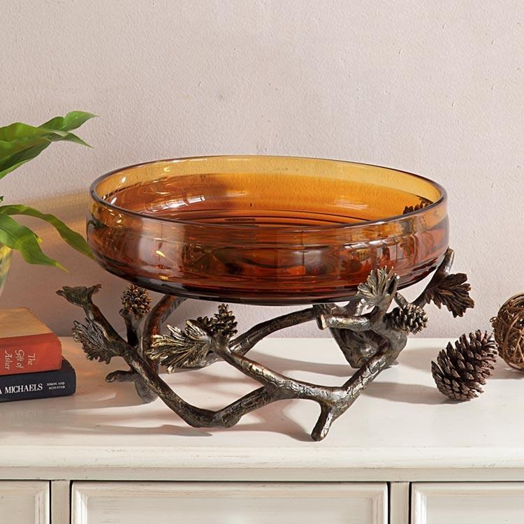 Pinecone and Branches Bowl Holder-Iron Home Concepts
