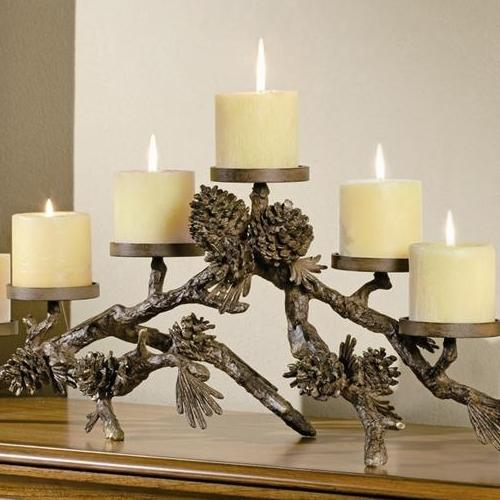 Pinecone Mantlepiece Pillar Candle Holder-Iron Home Concepts