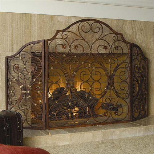 Provincial Wrought Iron Triple Panel Fireplace Screen-Iron Home Concepts