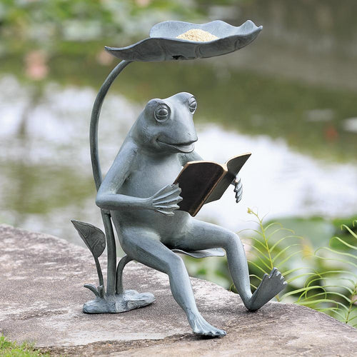 Reading Frog Birdfeeder with LED Light-Iron Home Concepts