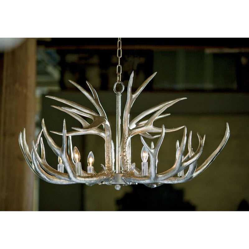 Regina Andrew Antler Chandelier (Ambered Silver Leaf)-Ceiling Fixtures-Iron Home Concepts