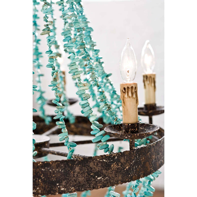 Regina Andrew Beaded Turquoise Chandelier-Ceiling Fixtures-Iron Home Concepts