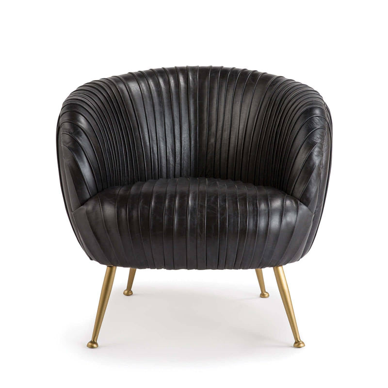 Regina Andrew Beretta Leather Chair (Modern Black)-Seating-Iron Home Concepts