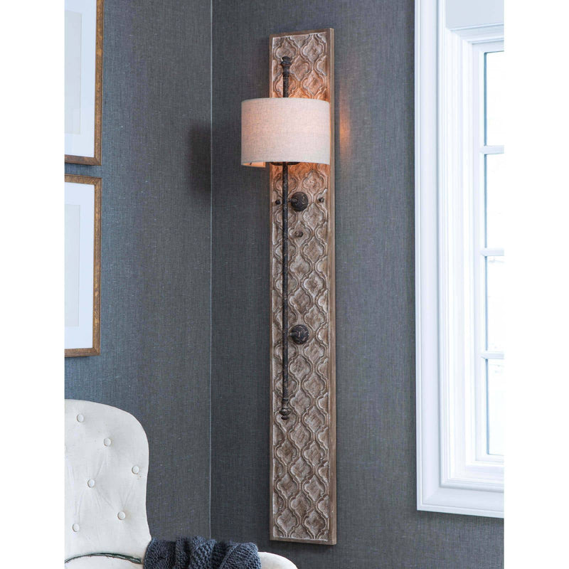 Regina Andrew Carved Panel Sconce-Wall Sconces-Iron Home Concepts
