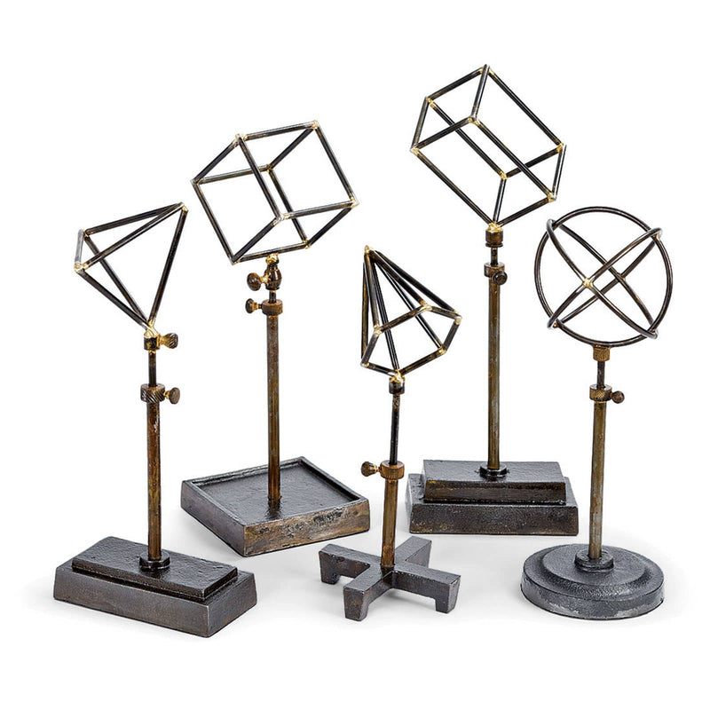 Regina Andrew Geometrical Shapes On Stand (Set of 5)-Sculptural Objets-Iron Home Concepts