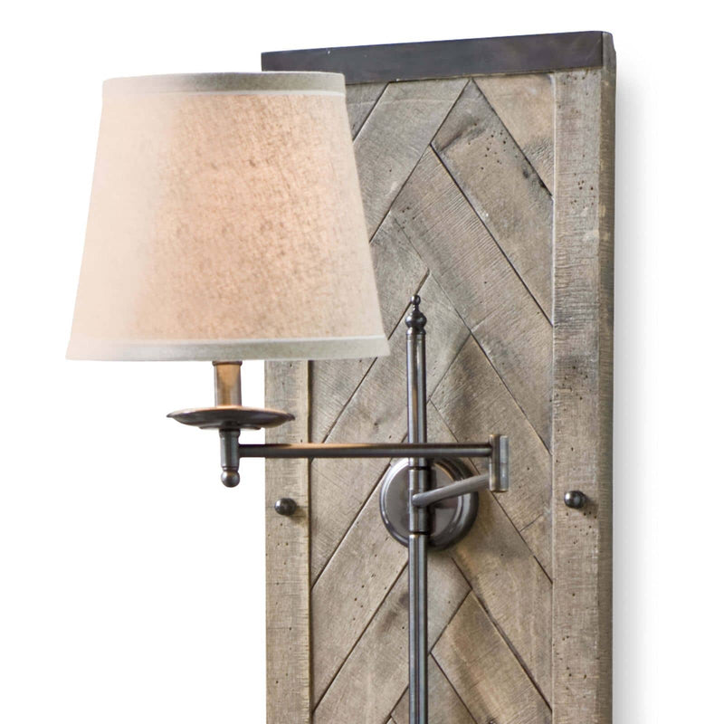 Regina Andrew Herringbone Wood Panel Swing Arm Sconce-Wall Sconces-Iron Home Concepts