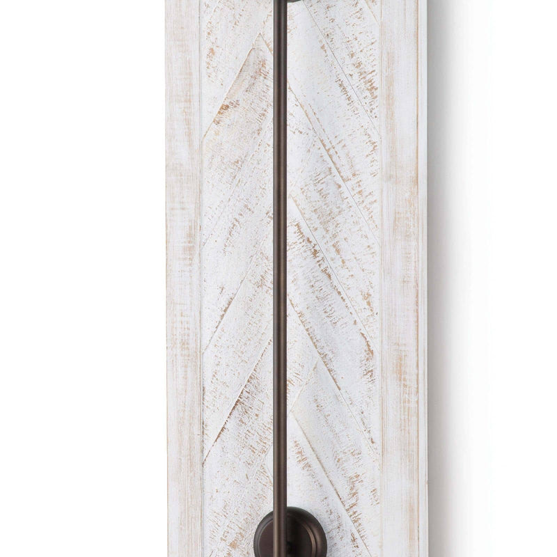 Regina Andrew Herringbone Wood Panel Swing Arm Sconce (White)-Wall Sconces-Iron Home Concepts