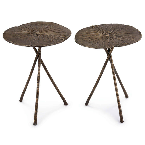 Regina Andrew Lotus Table Large (Set of 2) Antique Brass-Tables-Iron Home Concepts