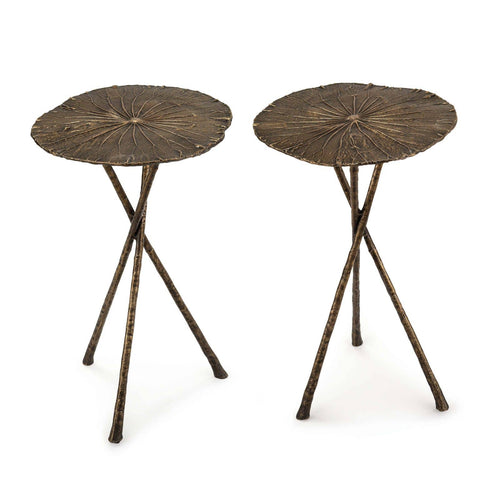 Regina Andrew Lotus Table Small (Set of 2) Antique Brass-Tables-Iron Home Concepts