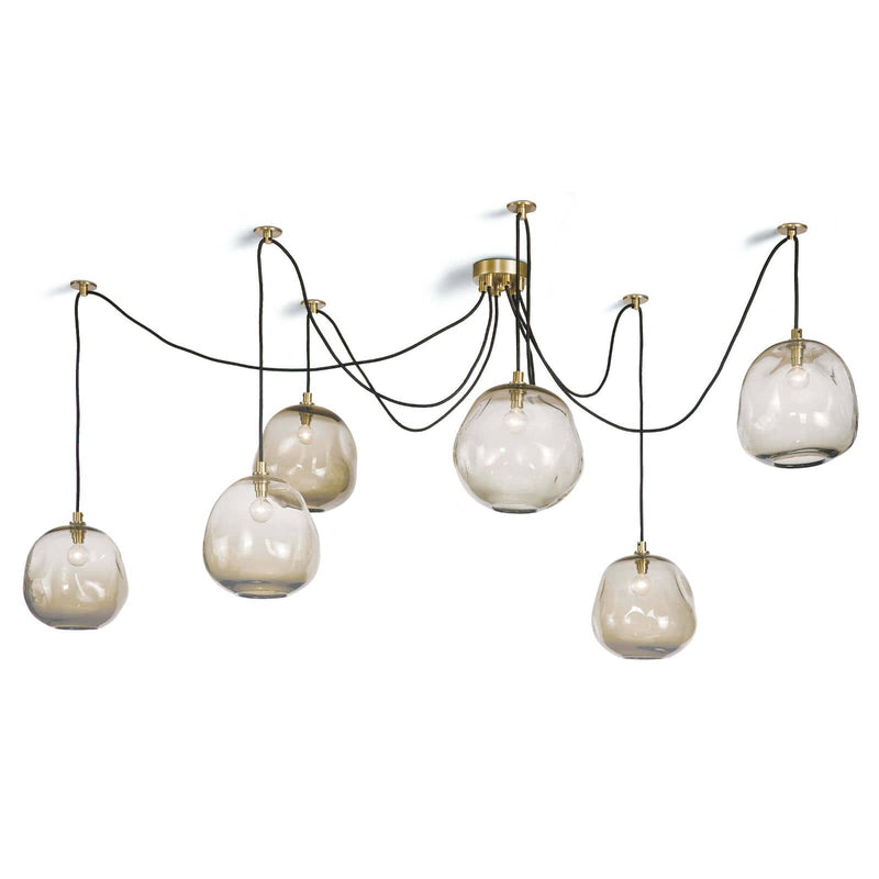 Regina Andrew Molten Spider Large With Smoke Glass (Natural Brass)-Ceiling Fixtures-Iron Home Concepts